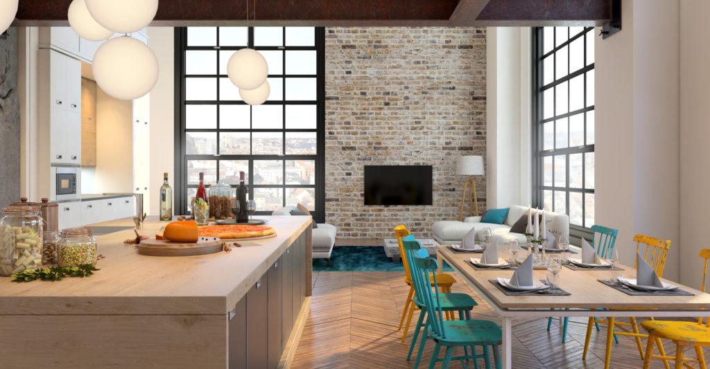 cozinha integrada com sala de jantar e tv