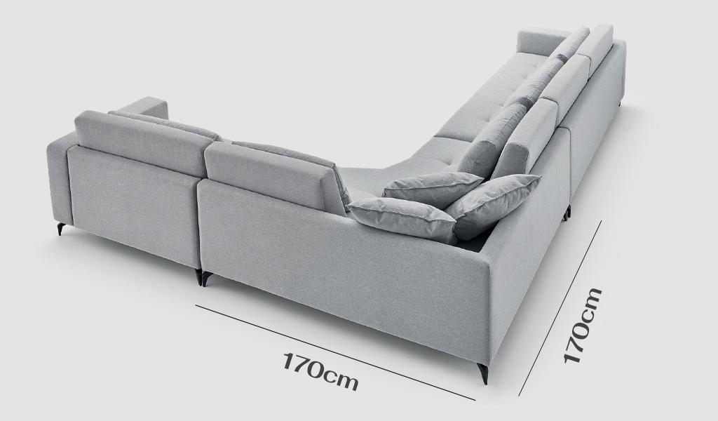 módulo de canto do sofá adam com 170 centímetros